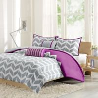Intelligent Design Nadia 5-Piece Full/Queen Comforter Set in Purple/Grey/White