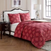 VCNY Jacquard Damask Queen Comforter Set in Red