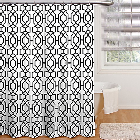Payton Shower Curtain In Black White Bed Bath Amp Beyond