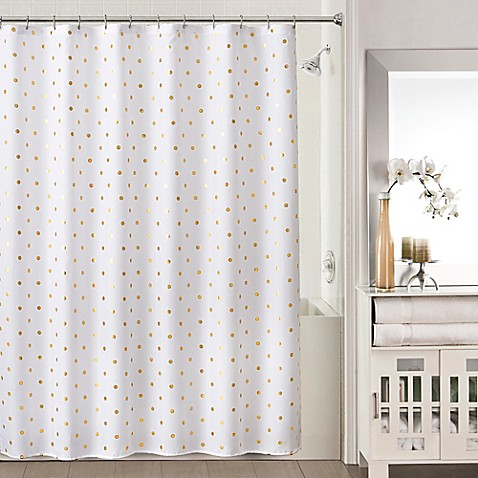 Sophia Shower Curtain in Gold/White - Bed Bath & Beyond