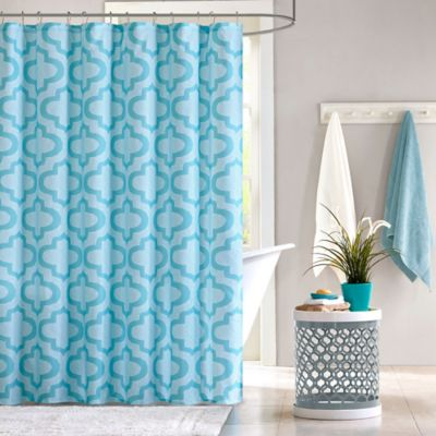 Perfect Intelligent Design Pilar Shower Curtain In Aqua