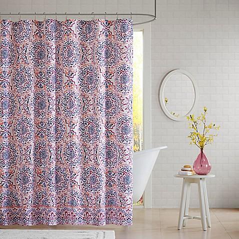 Intelligent Design Zoe Shower Curtain In Coral