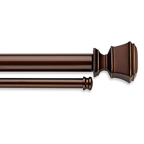 Cambria Connections Adjustable Double Window Curtain Rod In Golden Bronze Bed Bath Beyond
