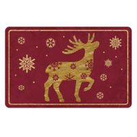 The Softer Side by Weather Guard™ 18-Inch x 27-Inch Brass Reindeer 1 Kitchen Mat