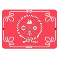 The Softer Side by Weather Guard™ Nautical Icons 18-Inch x 27-Inch Kitchen Mat in Coral