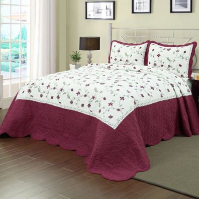 Enchantment Bedspread In Burgundy/White