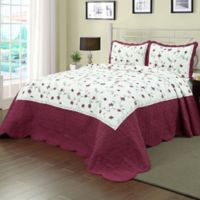 Enchantment Full Bedspread in Burgundy/White