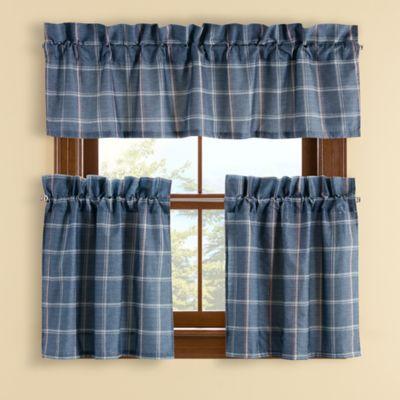 Branklyn Plaid 24 Inch Window Curtain Tier Pair In Blue