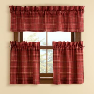 Branklyn Plaid 24 Inch Window Curtain Tier Pair In Red