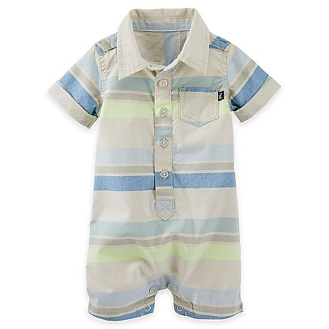 Oshkosh B Gosh 174 Striped Button Front Romper In Blue Yellow