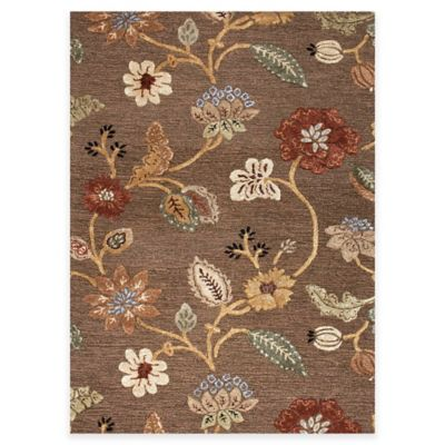 Jaipur Blue Collection Floral 5 Foot X 8 Foot Area Rug In Brown/