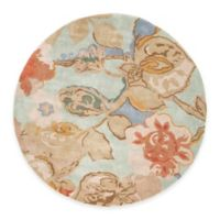 Jaipur Blue Collection Floral 8-Foot Round Area Rug in in Blue/Red