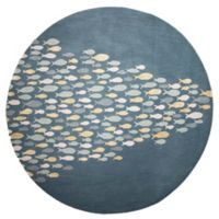 Jaipur Coastal Resort Schooled Hand-Tufted 8-Foot Round Area Rug in Blue/Yellow