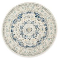 Safavieh Evoke Collection Mirza 6-Foot 7-Inch Round Area Rug in Ivory/Blue