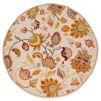 Safavieh Four Seasons Paisley Floral 4-Foot Round Indoor/Outdoor Area Rug in Ivory/Yellow