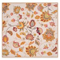 Safavieh Four Seasons Paisley Floral 6-Foot Square Indoor/Outdoor Area Rug in Ivory/Yellow