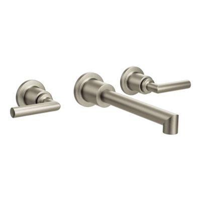 Moen® Arris 2 Handle Wall Mount Bathroom Faucet In Brushed Nickel