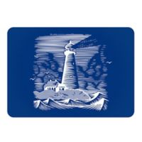 The Softer Side by Weather Guard™ 23-Inch x 36-Inch Lighthouse Kitchen Mat in Navy/White