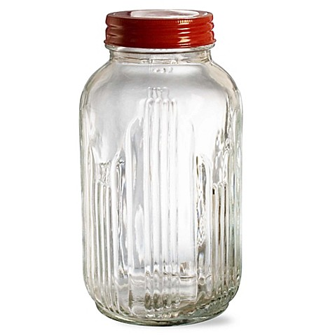 Vintage Large Glass Mason Jar Canister With Metal Lid
