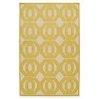 Kaleen Five Seasons Double Coin 2-Foot 1-Inch x 4-Foot Indoor/Outdoor Accent Rug in Gold