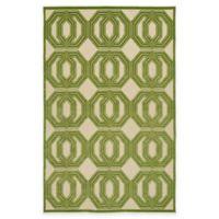 Kaleen Five Seasons Double Coin 3-Foot 10-Inch x 5-Foot 8-Inch Indoor/Outdoor Area Rug in Green