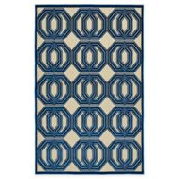 Kaleen Five Seasons Double Coin 3-Foot 10-Inch x 5-Foot 8-Inch Indoor/Outdoor Area Rug in Navy