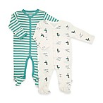 Rosie Pope® Ships Ahoy Size 0-3M 2-Pack Stripe/Seagull Footies in Teal/White