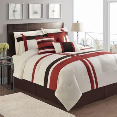 Good VCNY Berkley 7 Piece Queen Comforter Set In Ivory/Red