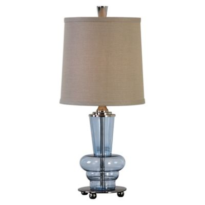 Uttermost Aubin Glass Table Lamp In Blue With Linen Shade