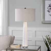Uttermost Mavone 1-Light Ribbed Table Lamp in White with Linen Shade
