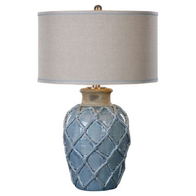 Buy light blue lamp shade from bed bath beyond uttermost parterre 1 light hammock weave table lamp in pale blue with linen shade aloadofball Gallery