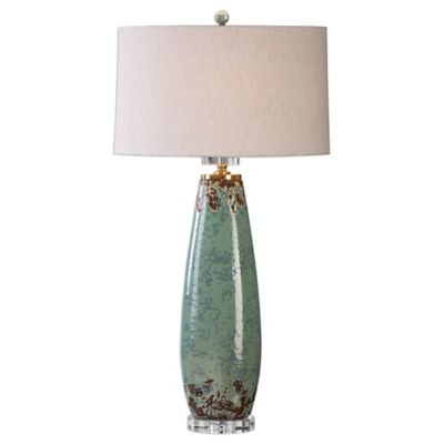 uttermost rovasenda table lamp in mint green crackle with oval linen shade