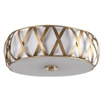 Safavieh Charing Cross 2-Light Flush-Mount Ceiling Light in Antique Gold with White Fabric Shade