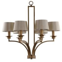 Safavieh Mindy Craftsman 6-Light Ceiling Mount Chandelier in Antique Gold with Cream Linen Shade