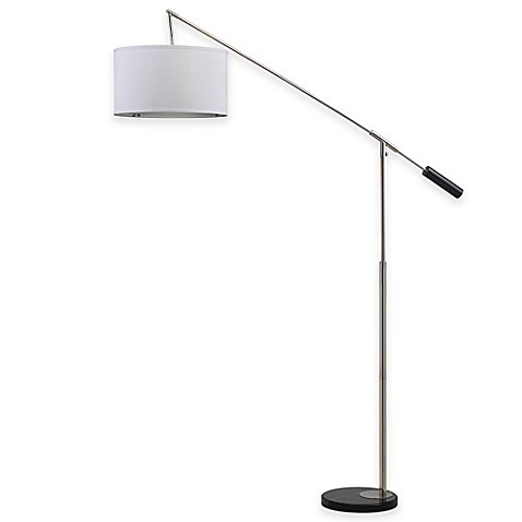 image of Safavieh Carina Balance Floor Lamp in Nickel with Cotton Shade