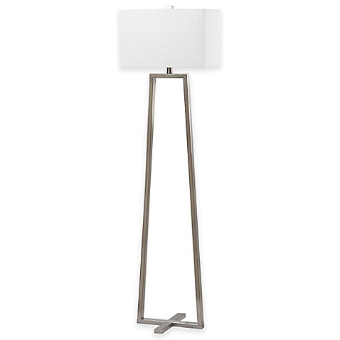 image of Safavieh Lyell Floor Lamp in Nickel with Cotton Shade