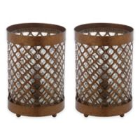 Safavieh Borden Hurricane Table Lamps in Gold with Glass Shade (Set of 2)