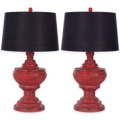 Nice Safavieh Chinese Table Lamp In Distressed Red (Set Of 2)
