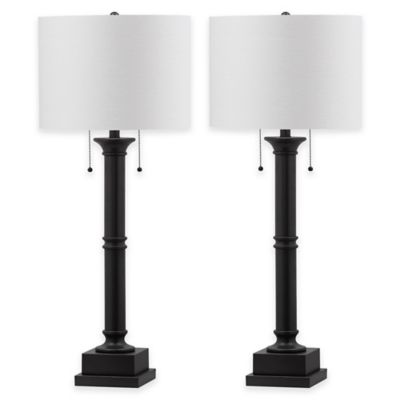 Safavieh Estilo Table Lamps In Silver Grey With Cotton Shade (Set Of 2)
