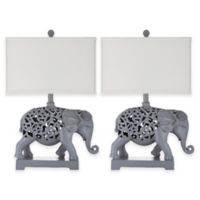 Safavieh Hathi Elephant Table Lamps in Grey with Rectangular Shades (Set of 2)