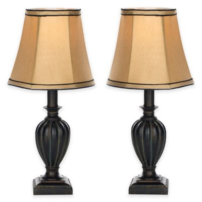 Buy mini table lamps from bed bath beyond safavieh gemma table lamps in black with silk weave shades set of 2 aloadofball Gallery