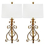 Safavieh Scroll Table Lamps in Antique Gold with Cotton Shade (Set of 2)