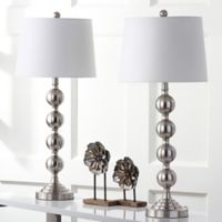 Safavieh Stacked Gazing Ball Table Lamps in Nickel with Cotton Shades (Set of 2)