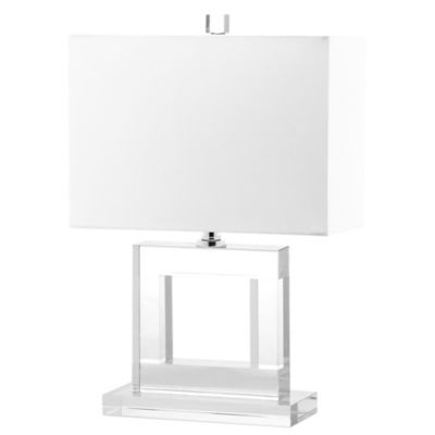 Safavieh Town Square Table Lamp In Clear/White With Linen Shade