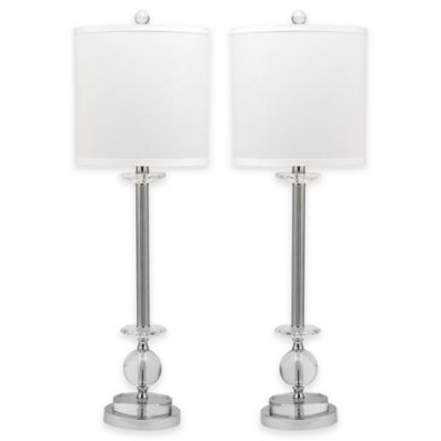 Safavieh marla crystal candlestick lamps with white shades set of 2