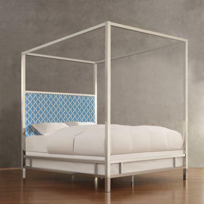 verona home indio chrome framed full canopy bed in blue