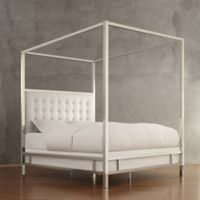 Verona Home Indio Chrome Framed King Canopy Bed in Whte