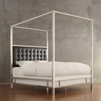 Verona Home Indio Chrome Framed King Canopy Bed in Black