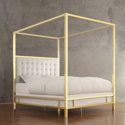 Verona Home Indio Gold Full Canopy Bed in White