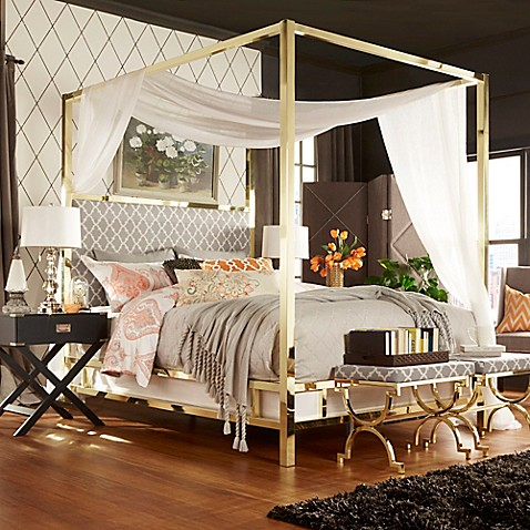 Buy verona home indio gold king canopy bed in grey from for Gold bed canopy